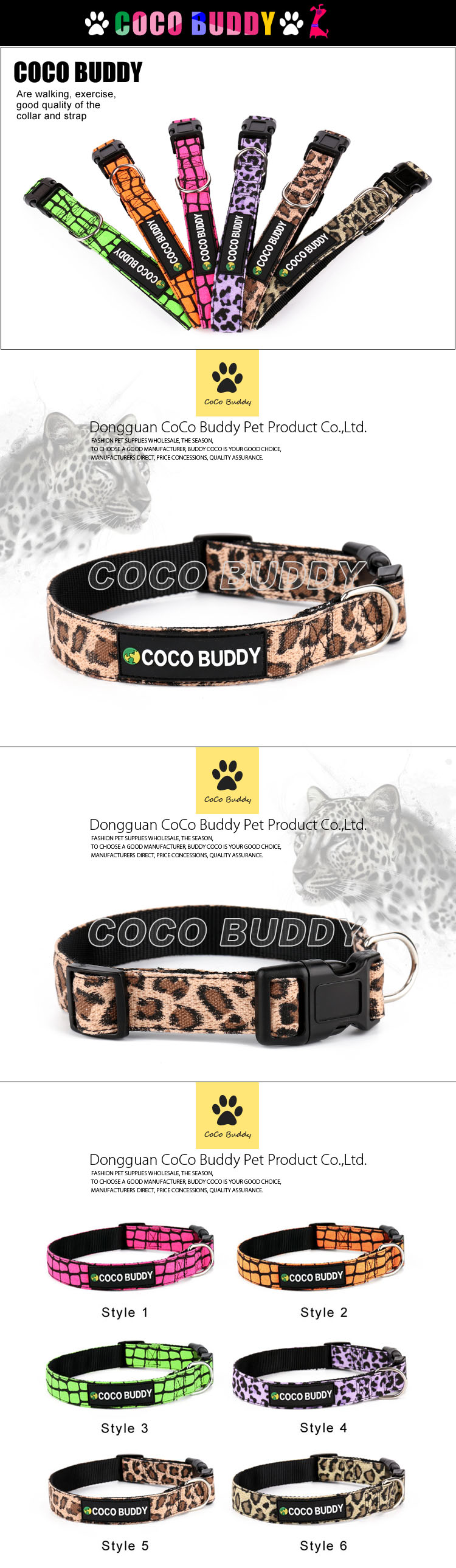 2015 Novelty Colorful Canvas Dog Collar&Lead(100 Colors)