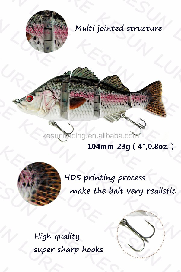 "CH4J02F Kesun lure 5.5"" 65g 4 joints bass swimbait fishing lure"