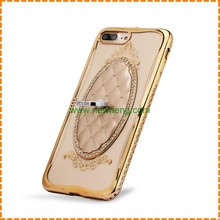 Luxury ultra thin rhinestone frame clear soft tpu bling crystal diamond case for iphone 7