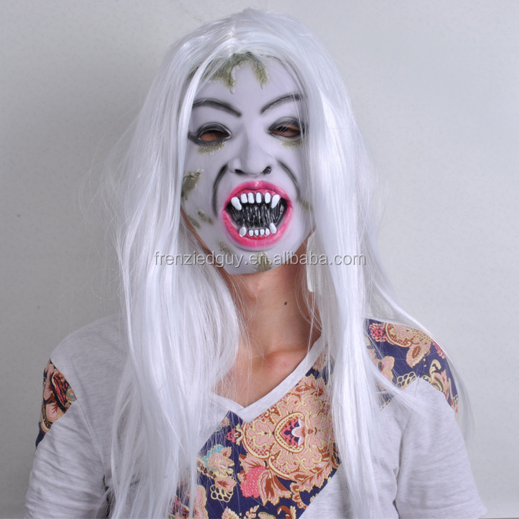 female latex ghost mask with white wig FGM-0215