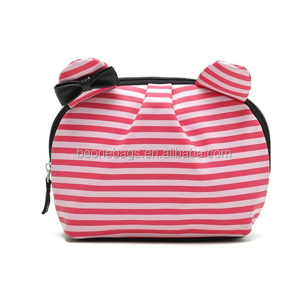 Lovely cute cat shape pink stripe pu cosmetic bag/small pouch for teenage