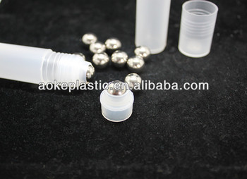 Cosmetic packing stainless steel ball roll on ball and holder bottle