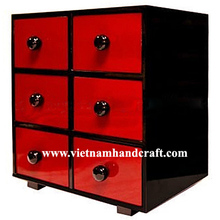 Eco-friendly hand finished vietnamese 6 drawer black & red lacquered bamboo home furnishing accessories