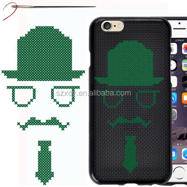 diy decoration colorful cross stitch tpu material mobile phone cover case for Apple iPhone 4 5 6 6s