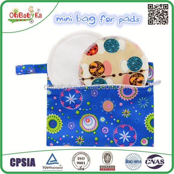 Ohbabyka new design Reusable Cloth Menstrual Pads Wet Dry Bags nursing pads wet bag