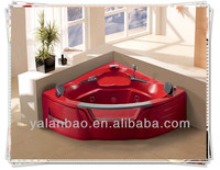 2015 Population Red color home sauna bathtub for two people with bubble jets G653/acrylicbathtub/massage bathtub