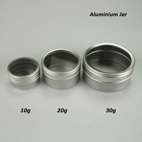 10g 20g 30g aluminum jar with PET window screw lid 5g and 50g jars available aluminium tin jar box container