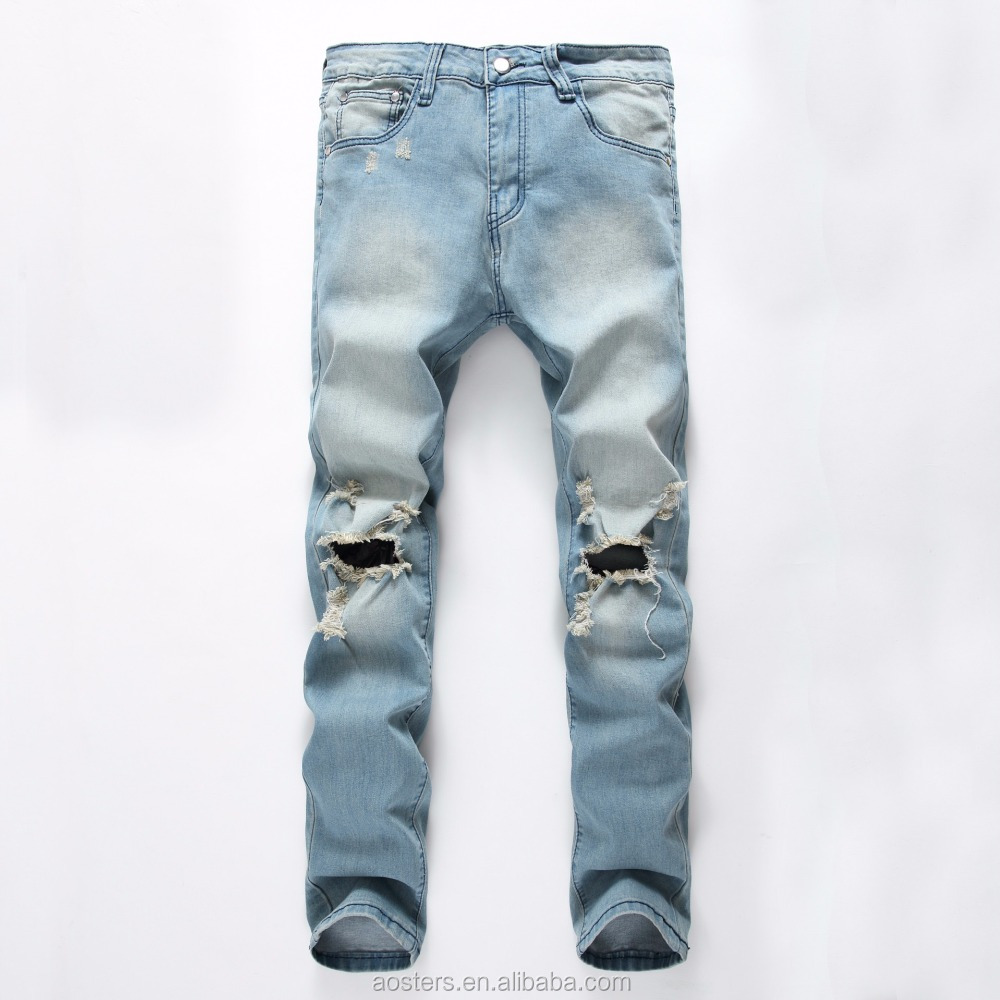 Newest style jeans pant men OEM service custom new model skinny jeans pants free shipping