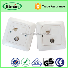 High Quality 1gang / 2gang Tv/computer/telephone Multiple Wall Socket Outlet