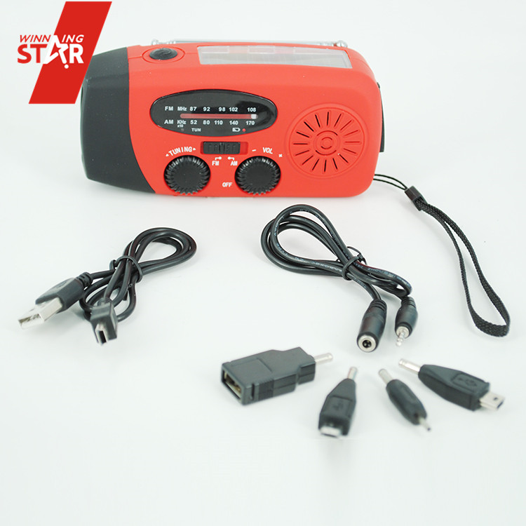 Dynamo hand crank flashlight radio solar emergency radio hand crank with AM/FM radio