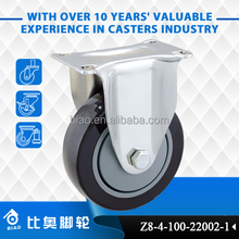 Load capacity 100 kg per caster 100 mm PVC fixed and swivel brake caster wheel