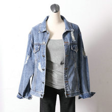 2938100% cotton light blue women ripped jean jackets denim jacket