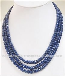 Natural Faceted Blue Sapphire 3 Strand Necklace