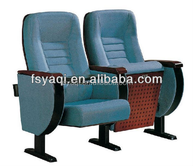 Elegant Design Theater lecture hall high back wood arm standard size auditorium chair YA-205