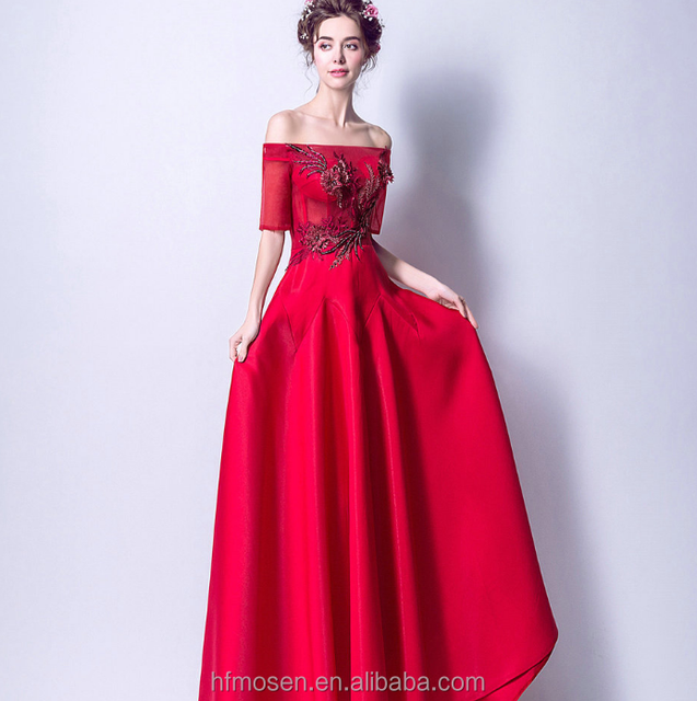 off-shoulder half sleeve long dress bride's evening dress