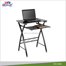 KD Black Tempered Glass Computer Desk