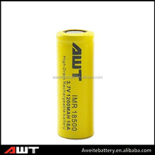 Aweite 18500 1200mah 3.7v Li-ion rechargeable battery AWT 18500 18amp battery nicd sc 1300mah rechargeable battery