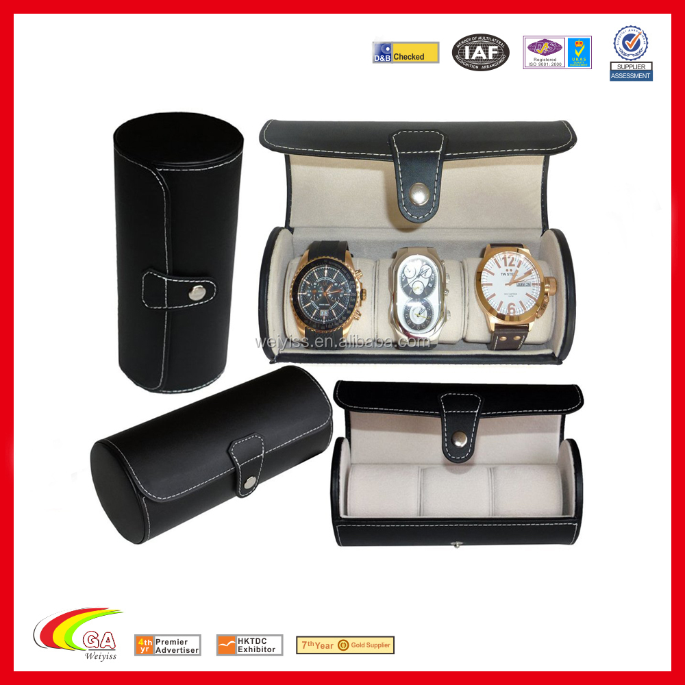 leatherette roll traveler's watch storage organizer box for 3 watch slots,black