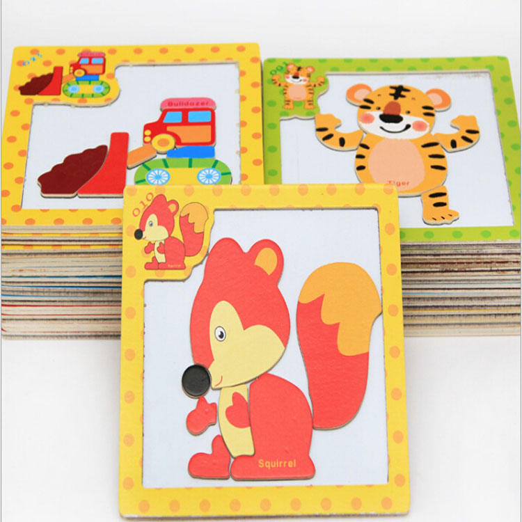 Wholesale Children 's Cartoon Magnetic Puzzle Small Wooden Puzzle Toys Jigsaw Puzzles
