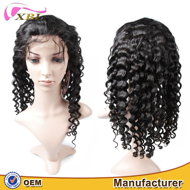 Hot selling deep wave lace front full lace wig hidden knots natural black virgin brazilian remy lace wigs