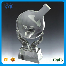 Souvenir Use and Folk Art Style Sport Trophy Table Tennis Crystal Trophy Awards