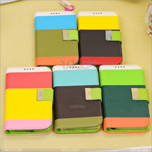 Wholesale Colorful Flip leather Case With Credit Id Card for SAMSUNG Galaxy S4 S IV SIV S 4 Iv Gt-i9500 P-SAMI9500CASE062