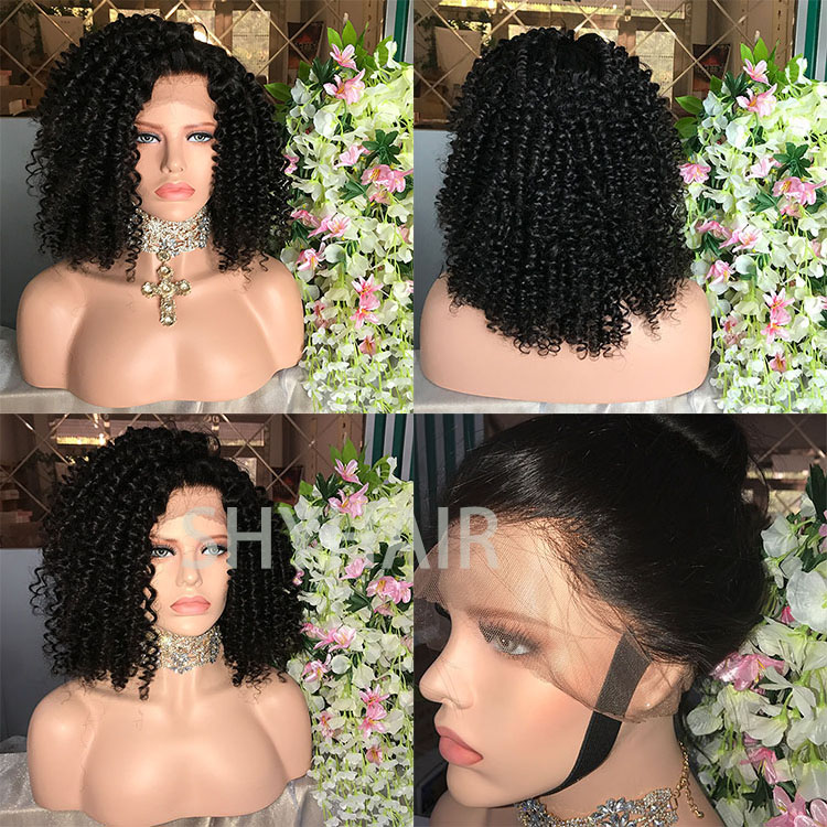 Good Quality 7A Grade 20 Inch Natural Scalp Full Lace Curly Wigs For Black Women