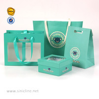 customized transparent plastic window paper packaging gift box green