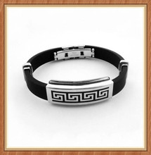 Mens Fashionable stainless steel silicone leather bracelets with magnetic clasp