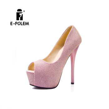 Korean fashion super high heel ladies shoes fish mouth color flashing sexy pencil high heel shoes for women