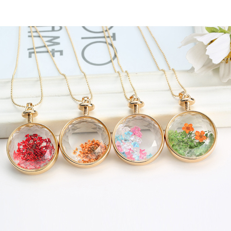 Wholesale Jewelry Accessories Dried Flower Glass Pendant Women's Real Flower Pendant Necklace