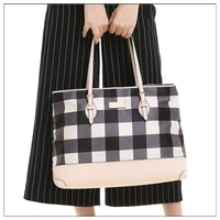 cotton waxed stripe canvas beach wholesale leather rope handle tote bag