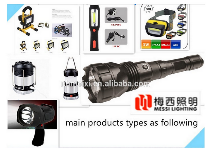 Factory wholesale rechargeable flashlight with zoom function