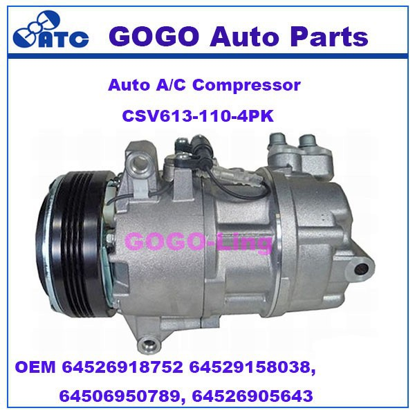 GOGO CSV613 Auto A/C Compressor for BMW Z4 OEM 64526918752 64529158038, 64506950789, 64526905643