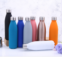 16oz Rubber Coating Soft Touch Cola Shape Stainless Steel Travel Insulated Water Bottle