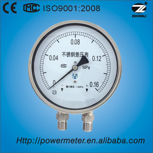 100mm stainless steel differential pressure gauge manometer