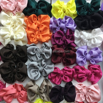 4.5'' Soft Satin Hair Bows Baby Satin Hair Bows Tie Without Clips On Back