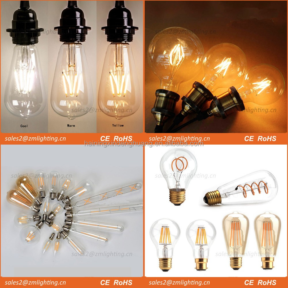 E27 E14 B22 dimmable filament led bulb,2W 4W 6W led filament lamp, dimmable led filament bulb light
