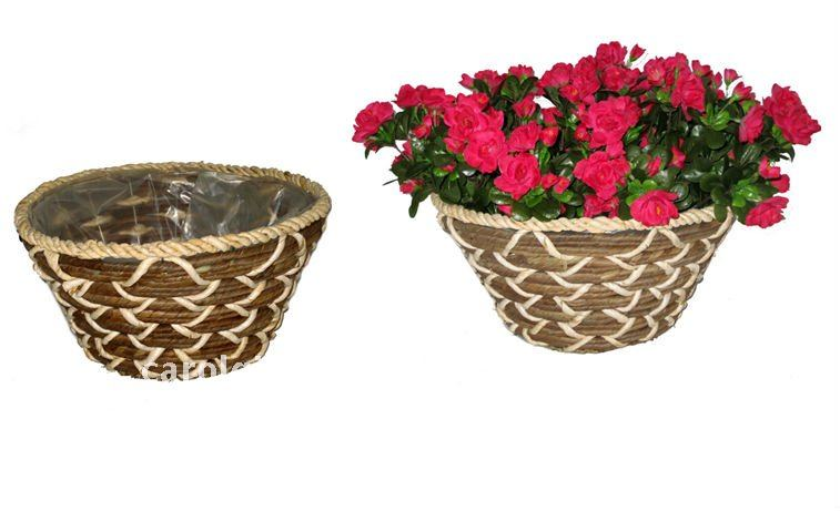 Rattan and Banana leaf Round planter- Round flower pot - Rattan and Banana leaf Plant container