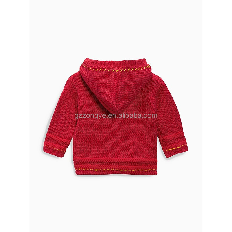 Red Cartoon Embroidered Hooded Child Cardigan