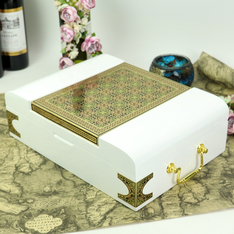 luxury white wooden perfume box hot sale Cosmetic Packaging Arab style Box gift box