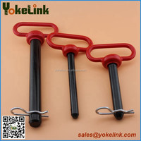 Red handle tractor hitch pins with cotter pin