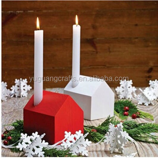 Ornamental House Shaped Wooden Candle Holders / MDF Wood Candlestick