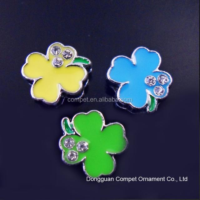Produce diamond 8mm lucky clover slider four leaf clover charm