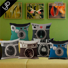 Wholesale 3D camera printed cottom fabric custom throw pillow sofa cushion for home decor pillow