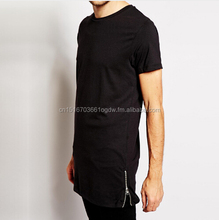men's summer T-shirt Hip Hop fashion side zipper tshirt top tee shirts men tall t-shirt