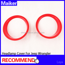 ABS Red Headlamp Cover for jeep wrangler 4*4 led headlight cover from Maiker