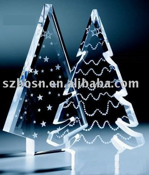 tree shaped crystal award trophy