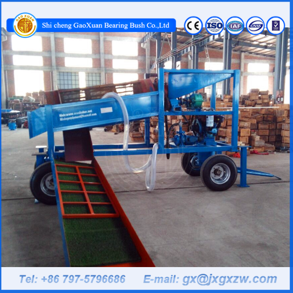 Mobile rotary gold trommel with gold sluice box for sand gravel screening