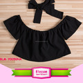 Cute Baby Girls Solid Off Shoulder Elastic neck Fashion Ruffle sleeve Short girl off shoulder Blouse + Bow Headband 2pcs